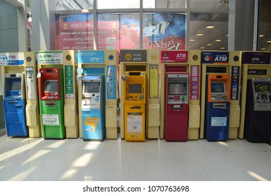 Bangkok, Thailand - March 10, 2018: Many ATM (Automatic Teller Machine) from Different Thai Bank in the department store.