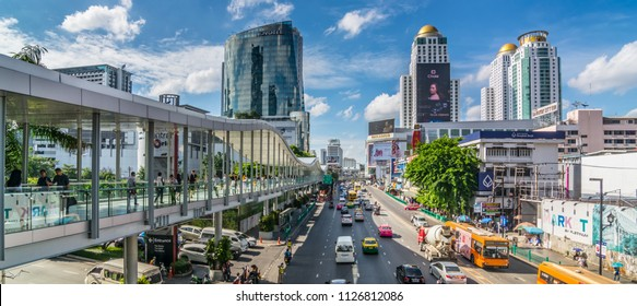 Bangkok, Thailand - March 10, 2018 : City scape, Traffic and BTS sky walk Saim station ,accommodations, office building, condominiums and hotels in business area around sukhumvit road.