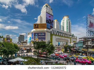 Bangkok, Thailand - March 10, 2018 : City scape of traffic Pratonam intersection ,Ratchaprasong town ,accommodations, office building, condominiums and hotels in business area around sukhumvit road.