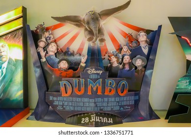 Bangkok, Thailand - March 10, 2019:: A beautiful standee cardboard of a movie called Dumbo display at the cinema to promote the movie