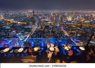 Bangkok / Thailand - March 10 2019: King power mahanakhon thailand's highest observation deck at 314 meters, luxury rooftop bar mahanakhon skywalk