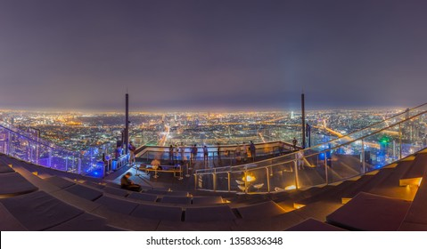 Bangkok / Thailand - March 10 2019: 360 Degree panorama bangkok night view from outdoor area king power mahanakhon thailand's highest observation deck at 314 meters