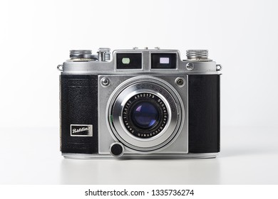 BANGKOK, THAILAND - MARCH 11, 2019: An old rangefinder 35mm film camera Balda Baldina. The Baldina were a series of cameras manufactured in Germany by Balda Werke.
