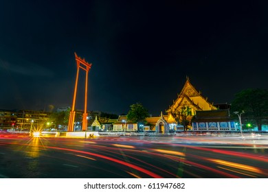 BANGKOK, THAILAND - March 12, 2017 : The Giant Swing and Wat Suthat Temple Bangkok, Thailand.