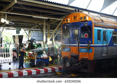 BANGKOK, THAILAND - March 12 : The central Krungthep Hua Lamphong railway station with people on platforms, Surroundings around Bangkok Railway Station,on March 12, 2017