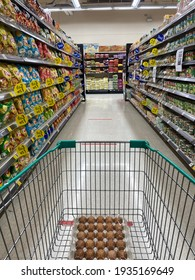 Bangkok Thailand, March 13, 2021. Shopping cart in the grocery super market store.