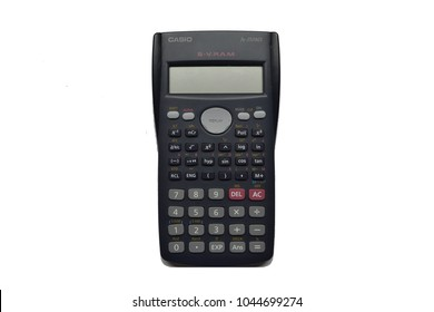 BANGKOK, THAILAND - MARCH 13: Casio scientific calculator on March 13, 2018 on Bangkok, Thailand. The calculator is isolated in white background.