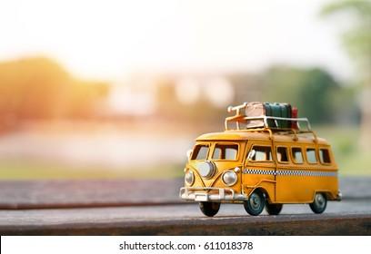 Bangkok, Thailand - March 13,2017 : Miniature yellow van with summer scene