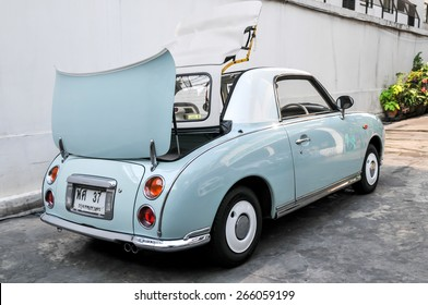 Bangkok Thailand - March 14th, 2015 - Only 12,000 classic Nissan Figaro vintage retro cars were produced in 2011.