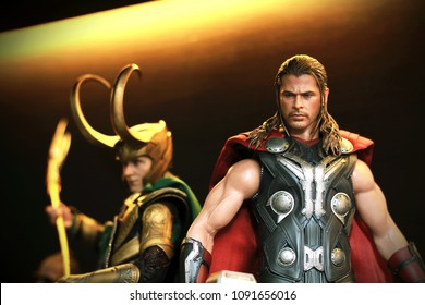 BANGKOK THAILAND - MARCH 15 ,2017 : Close up shot of THOR and LOKI in AVENGERS superheros figure in action at Home in Bangkok ,Thailand