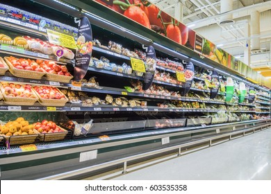 BANGKOK, THAILAND -  MARCH 15, 2017 :  Rows of shelves in Tesco Lotus supermarket in  bangkok, Thailand. Tesco Lotus is a largest hypermarket chain in Thailand