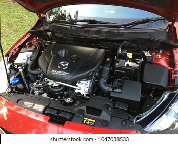 BANGKOK, THAILAND - MARCH 15, 2018: Mazda Diesel 1.5L Turbo Engine available on Mazda2 Mazda3 Mazda CX-3. SKYACTIV is a brand name tecnology by Mazda which increase fuel efficiency and engine output.