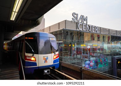Bangkok Thailand- March 15, 2018 : In the BTS Siam station at Siam Paragon mall Shopping in Bangkok Landmark of Capital in Thailand