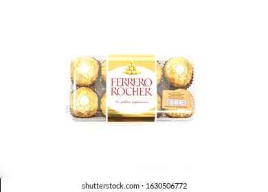 """Bangkok Thailand- March 15, 2018: Ferrero Rocher is a chocolate sweet made by Italian Ferrero Spa. Rocher comes from French and means """"rock"""" after a grotto in the Roman Catho"""
