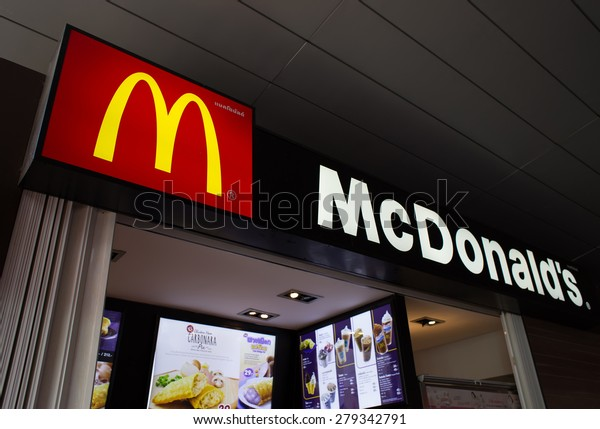 BANGKOK, THAILAND - MARCH 15 : Exterior view of McDonald's Restaurant on March 15, 2015 in Bangkok, Thailand. It is the world's largest chain of hamburger fast food restaurants.