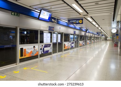 BANGKOK, THAILAND - MARCH 15 : Interior view of MRT Station on March 15, 2015 in Bangkok, Thailand. It is an elevated rapid transit system in Bangkok, Thailand.