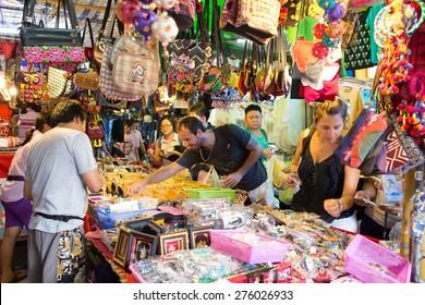 BANGKOK, THAILAND - MARCH 15 : Unidentified tourist shops at Jatujak or Chatuchak Market on March 15, 2015 in Bangkok, Thailand. Jatujak Market is the largest market in Thailand.