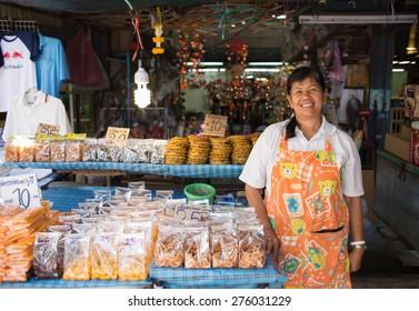 BANGKOK, THAILAND - MARCH 15 : Unidentified seller at Jatujak or Chatuchak Market on March 15, 2015 in Bangkok, Thailand. Jatujak Market is the largest market in Thailand.