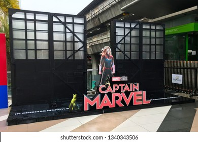 Bangkok, Thailand - March 16, 2019: A Standee of The Marvel Hero Movie Captain Marvel or Carol Danvers stars by Brie Larson displays at the BTS Siam Station