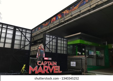 Bangkok, Thailand - March 16, 2019: A Standee of The Marvel Hero Movie Captain Marvel or Carol Danvers stars by Brie Larson and the skytrain with a Movie Poster at the BTS Siam Station