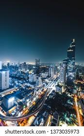 Bangkok, Thailand - MARCH 16, 2019 : Long exposure Bangkok night cityscape view, King Power Mahanakhon building, , Bangkok, Thailand, most popular city in south asia.