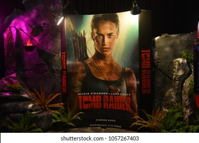 Bangkok, Thailand - March 17, 2018: Standee of American Action Adventure Movie Tomb Raider (Alicia Vikander as Lara Croft) displays at the theater