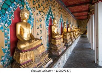 BANGKOK, THAILAND - March 17, 2018 : Golden Sculpture Spirit Buddha around the Church of Wat Arun.