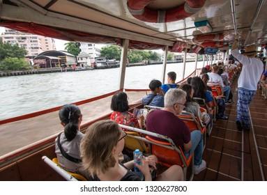 BANGKOK, THAILAND - March 17, 2018 : Tourist the popular boat travel on the Chao Phraya river.