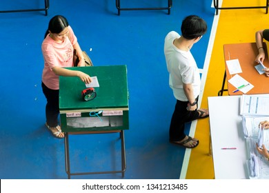 BANGKOK, THAILAND - MARCH 17, 2019 : Thais flock to early voting first election since 2014 coup.