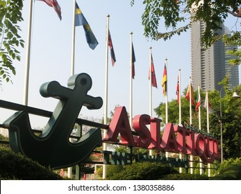 BANGKOK, THAILAND - MARCH 17, 2019: the editorial photo of Asiatique The Riverfront in alphabet sign.