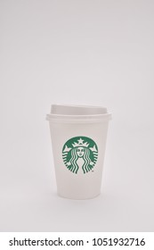 Bangkok, Thailand - March 18, 2018 : Starbucks coffee cup for hot drinks on white background
