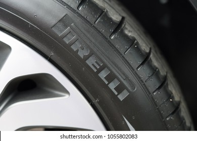 BANGKOK, THAILAND- MARCH 18:Close-up on Pirelli car tyre logo on March 18,2018