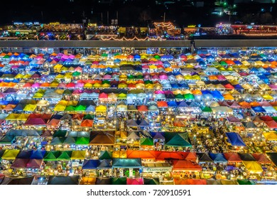 Bangkok, Thailand - March 19, 2017: Night view of the Train Night Market Ratchada. Train Night Market Ratchada, also known as Talad Nud Rod Fai, is a new flea market place at Bangkok.