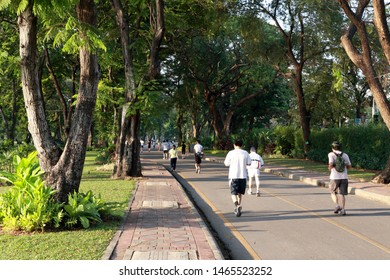Bangkok, Thailand -March 2, 2013: Thai people running in the Lumpini public park, Bangkok, Thailand.