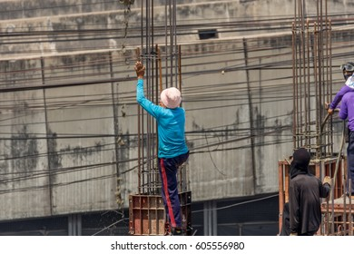 Bangkok, Thailand - March 2, 2017 : Unidentified people is construction worker or professional work for building a builder at construction site.