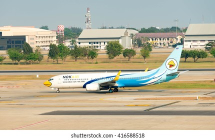 BANGKOK, THAILAND - March 20, 2016 : Nok Air Plane landed at Don Mueang International Airport on  March 20, 2016 in Bangkok, Thailand. Nok Air is a major domestic low-cost airline in Thailand.
