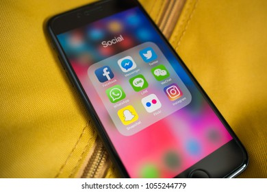 Bangkok, Thailand - March 20, 2018 : Apple iPhone 7 showing its screen with Social Network applications