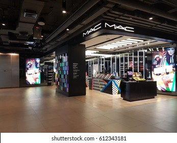 BANGKOK, THAILAND - March 2017: Exterior view of MAC Cosmetics Shop at Siam square.. MAC Cosmetics was founded in Toronto, Ontario, Canada in 1984.and became part of the Estée Lauder Companies in 1998