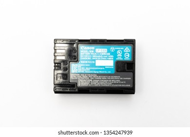 Bangkok, Thailand - March, 2019: Canon LP-E6N (LP-E6) Battery used in many of its DSLR with its label side up, isolated on white background
