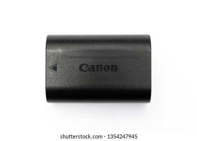 Bangkok, Thailand - March, 2019: Canon LP-E6N (LP-E6) Battery used in many of its DSLR, isolated on white background