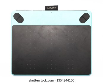 Bangkok, Thailand - March 2019 - Wacom Intuos Pen Tablet used by graphic designers and freelance isolated on white background