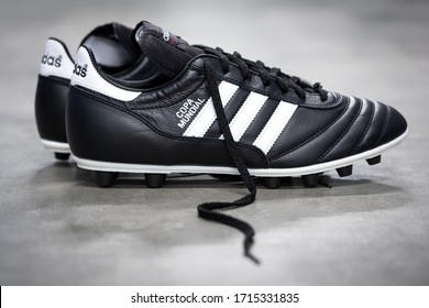 """Bangkok / Thailand - March 2020 : Adidas """"Copa mundial"""" in the one of most famous classic football boot. This boot is made from signature premium soft kangaroo leather, provide superb softness skin."""