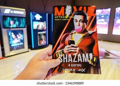 Bangkok, Thailand - March 21, 2019: Movie poster of shazam showing at cinema, a DC superhero movie.