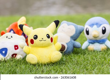 BANGKOK, THAILAND - March 22, 2015: Pokemon center plush dolls. Plush dolls in the garden. Pokemon is famous cartoon in Japan. Pokemon dolls is popular collection of Thai teenager.