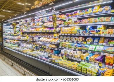 BANGKOK, THAILAND - MARCH 22, 2017 : Rows of shelves in Tesco Lotus supermarket in bangkok, Thailand. Tesco Lotus is a largest hypermarket chain in Thailand