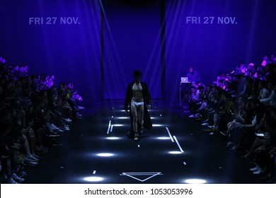 "Bangkok, Thailand - March 22, 2018 ; Model walks in Fashion Show of Spring Summer in ""Bangkok International Fashion Week 2018"", BIFW'18, Runway present Brand ""Friday27Nov"" at Siam Paragon"