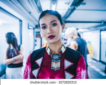 "BANGKOK, THAILAND - MARCH 22, 2018 ; Models Prepares Backstage for Fashion of the South by RMUTSV Srivijaya Fashion Show during ""Bangkok International Fashion Week 2018"" or ""BIFW 2018"" at Siam Center."