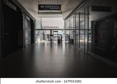 Bangkok, Thailand March 22, 2020. Entrance of Central World shopping mall a day after the government announcement to close all shopping mall in Bangkok to combat coronavirus or covid-19 outbreak.