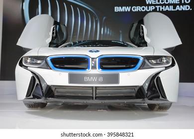 BANGKOK, THAILAND - MARCH 22 : BMW i8 Hybrid displayed at Thailand 37th International Motorshow 2016, Arina, Muangthong Thani, on March 22, 2016. Bangkok, Thailand.