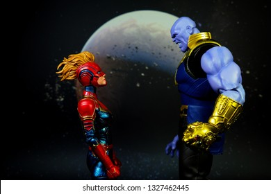Bangkok, Thailand - March 2,2019: A setting of Captain Marvel and Thanos action figures from Captain Marvel comic.